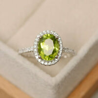 14K Solid White Gold 2.30 Ct Oval Diamond Peridot Engagement Ring Size 5 6