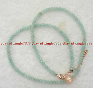 """Faceted 2x4mm Multicolor Rondelle Gemstone 9-10mm Pink Akoya Pearl Necklace 20"""""""