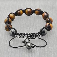 Fashion 10mm Tiger's Eye Stone Ball Beads Hematite Shamballa Bracelet H13