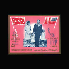 YEMEN, Bl 16b, MNH, 1965, S/S, JFK, Kennedy, Flags, CL161F
