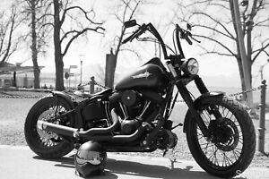 Harley Davidson Black Motorcycle Motorbike Biker Wall Art Print Poster A3 A4