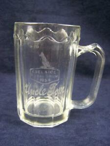 "1954 Adelaide Exhibition glass beer mug ""Uncle Tom"""