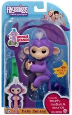 WowWee Fingerlings Mia Baby Monkey Interactive Toy - Purple with BONUS STAND
