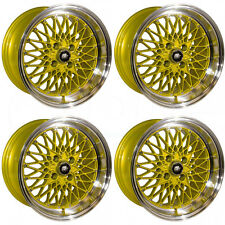 15x8 MST MT16 4x100 20 Gold Machine Lip Wheels New Set(4)