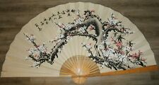 """Large Vintage Chinese Fan Decor (64"""" X 35"""") Cherry Blossom Tree Chinese Fan"""