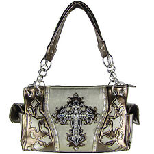 SILVER WESTERN RHINESTONE CROSS LOOK SHOULDER HANDBAG CONCEALED CARRY PURSE