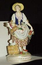Volkstedt German Figurine Peasant Girl Game Birds 1800's Circa Antique Vintage