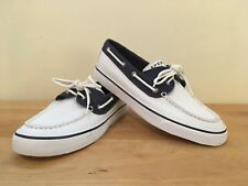 Sperry Top-Sider Biscayne 9771452 Womens Canvas Casual Boat Shoe - White & Navy