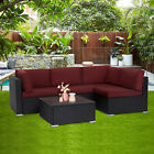5 Pcs Rattan Patio Outdoor Furniture Set Garden Sectional Sofa Set With Cushions