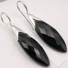 "925 Pure Silver Dazzling BLACK ONYX LONG STONE Beautiful Dangle Earrings 1.7"""