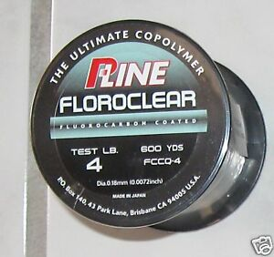 pline clear  floroclear  fluorocarbon coated line  4 lb  600yd trout NEW p line