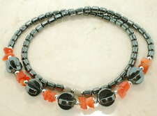 18 INCH HEMATITE NECKLACE WITH ORANGE BEADS