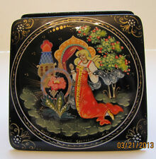 Russian Square Palekh Box with Fairy Tale Scene Box #2 New from Moscow, Russia