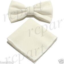 New in box Brand Q formal Men's Pre-tied Velvet Bow tie & Hankie Cream wedding