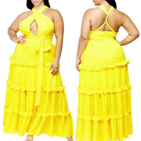 Plus Size Women Sleeveless Solid Color Bandage Backless Sexy Ruffled Dress