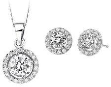 Diamante Bridal Jewellery Set White Zircon Silver Circle Earrings Necklace S616