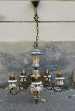 LAMPADARIO PORCELLANA decoro a mano Ottone Vintage 5 luci