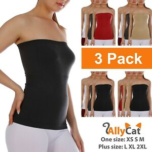 Women's 3-Pack Seamless Bandeau Tube Top Ribbing Bottom Slimming Fit Shirt
