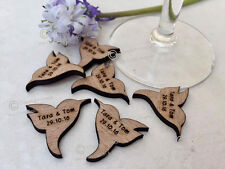 Personalised Rustic Wooden Hummingbirds Wedding Favours, Table Confetti