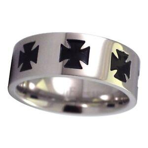 Maltese Cross Ring Mens Stainless Steel Knights Templar Biker Band Sizes 12-13