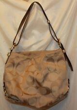 Coach Signature Khaki Gold Duffle Shoulder Bag Handbag F15067