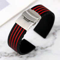 18/20/22/24mm Silicone Watch Strap Rubber Replacement Bracelet Band Spring Bars