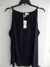 Michael Kors Plus Size Halter Top with Keyhole Front and Logo Bar New Navy 3X