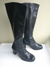 Vintage 1970s Womens Black Leather Campus Boots 7 Nordstrom Knee High Heel