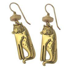 Laurel Burch Gold Siamese Cat Drop Dangling Earrings