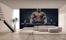 Photo Wallpaper A Muscular Man Workout GIANT WALL DECOR PAPER POSTER FREE PASTE