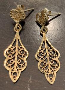 14k Solid Yellow Gold Estate Filigree Drop/Dangle Earrings 1.4 Grams