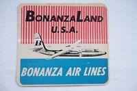 BonanzaLand USA Bonanza Air Lines Airline Aviation Luggage Label