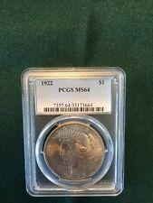 1922 Peace Dollar MS-64 - PCGS - Toned