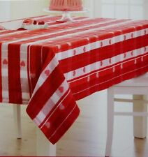 Valentineu0027s Day Red White Heart Jacquard 52x70 Oblong Tablecloth NWT