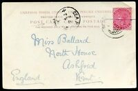 BRITISH INDIA TO GREAT BRITAIN Circulated Postcard 1903, VF