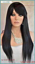 100% Heat Friendly Wig Long Straight  SLINKY STRAIGHT COLOR 1B Soft Black  1180