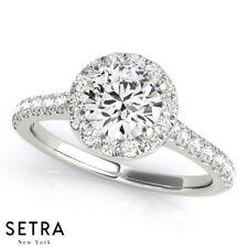 Diamond Halo Semi Mount Engagement Rings 14k Gold