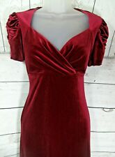 Marks & Spencer Taille S Velours Rouge 1940 S style vintage Xmas Party Robe