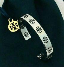Tory Burch SILVER Signature T Logo Pierced Cuff Bracelet & Free Shipping
