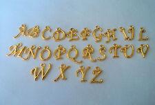 BEAUTIFUL GOLD CURSIVE ALPHABET LETTERS A-Z  EUROPEAN BAIL BEAD CHARM!!
