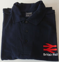 BRITISH RAIL INSPIRED POLO SHIRT EMBROIDERED TRAIN DRIVERS UNIFORM BR NEW NAVY