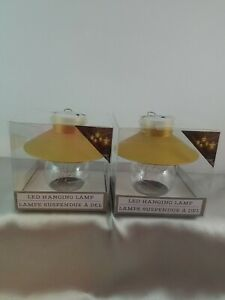 2 New Gold Tone Battery Operated Cordless Hanging LED Lamp Lights Home Decor