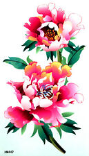 KHBig Pink Peonies with Leaves Non-Glitter Temporary Tattoos HM449 New Arrival