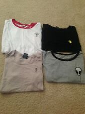 Lot of 4 Embroidered Tumblr Aesthetic Alien Question Mark Cactus Lemon T Shirts