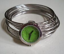 SILVER FINISH WITH GREEN DIAL DESIGNER STYLE WOMEN'S BANGLE  WATCH