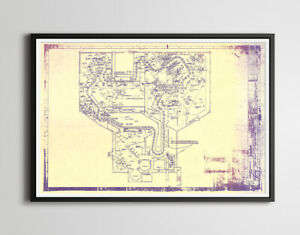 """1969 Haunted Mansion RIDE Blueprint POSTER! (up to full-size 24"""" x 36"""") - Disney"""