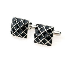 Grid Cuff Links Silver Black Mens Wedding Business Shirt Cufflinks Square