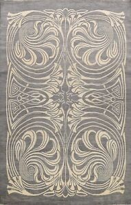 GRAY/BEIGE Art & Craft Abstract Oriental  Area Rug Hand-knotted Carpet 10'x14'