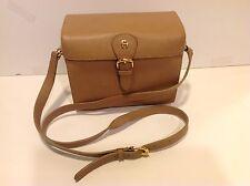 Etienne Aigner Leather Box Purse 62043 Tan Shoulder Strap 8x4x7 Inch Adj Strap