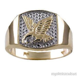 Mens Diamond 14K Yellow Gold or 14K White Gold US Eagle Ring